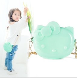Wholesale Jelly Mini Shoulder Bags - Baby Girls Cartoon Cat Bags Baby Silica gel Jelly Cute Girl Single Shoulder Mini Backpacks Baby Handbag Children Gift Child Purse