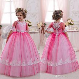 Wholesale sweetheart neckline flower girl dresses - Half Sleeves Flower Girls Dresses For Weddings Jewel Neckline Kids Birthday Ball Gowns Communion Dress Girls Wear