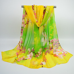Wholesale Thin Silk Scarves - Chiffon silk scarf 160 * 50 women's printed beach towel with a long and thin gauze towel ice cold style of trade scarf
