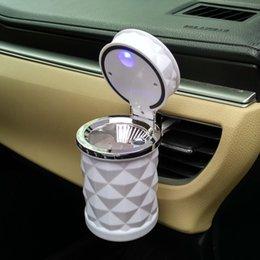 Wholesale Shipping Ashtray - Portable Aluminium LED Car Ashtrays White Black Color DHL & FEDEX Free Shipping