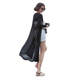 Wholesale Maxi Cardigan Sweater Coat - Wholesale- Maxi Cardigan Feminino Ankle Length Sweater Coat Women Knitted Long Sleeve Korean Vintage Black Oversized Sweaters