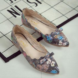 Wholesale Hollow Bow Shoes - 2017 New Arrival Women Flat Ballets Shoes High Quality Pointed Toe Butterfly Print Single Shoes Hollow Out Bow Casual Shoes Big Size