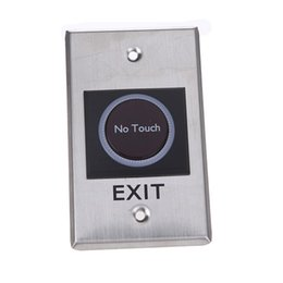 Wholesale Door Access Sensor - Wholesale- Door Exit Push Release Button Switch Infrared Sensor No Touch Contactless with LED Indication for Access Control System