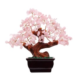 Wholesale Money Tree Decoration - Feng Shui Natural Rose Quartz Crystal Money Tree Bonsai Style Decoration for Wealth and Luck