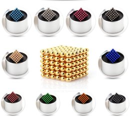 Wholesale Wholesale Magnetic Balls 5mm - 216pcs 5mm Buck Balls Magic Cube Magnetic Balls Fidget Cube Puzzle Cube with metal box Adult Relax de-stress Game Toys Birthday Present
