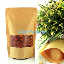 Wholesale Wire Craft Set - 23x33cm Kraft Paper Stand Up Pouch With Window Brown Craft Resealable Zipper Ziplock Food Packaging Storage Bag Coffee Candy