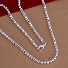 Wholesale 14k Gold Beads 4mm - wholesale 2014 New Fashion silver plated Chain 4mm 18inch Beads Necklaces Pendants For Women Men jewelry SMTN114