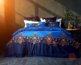 Wholesale Royal Blue Bedding - 2017 Bedding Sets 100% Cotton 4 Pieces Home Textiles Three-dimensional Embroidered Pattern Royal Blue High Quality