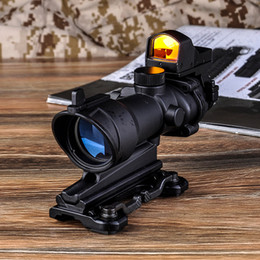 Wholesale Trijicon 4x32 Acog Rifle Scope - 2017 NEW Trijicon ACOG 4X32 Style Real Red Fiber Source Duel Illuminated Rifle Scope Sight With Mini Red Dot Sight for Hunting