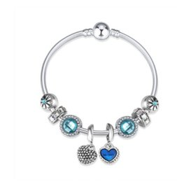 Wholesale European Charm Dangle Blue - Fashion 925 Sterling Silver Crystal Charm Beads Lake Blue European Charms Pendants Dangle Fits Pandora Charm bracelets Bangle Style Bracelet