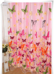Wholesale Printed Curtain Panels - Sheer Curtains 200cm*100cm New for living room bedroom girl Butterfly Print Sheer Window Panel Curtains Room Divider Hot Sales