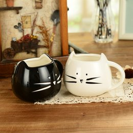 Wholesale Wholesale White Coffee Mugs - 400ml Lovely cat design coffee mug ceramic black and white Cat lovers mugs breakfast coffee and milk mug with animal