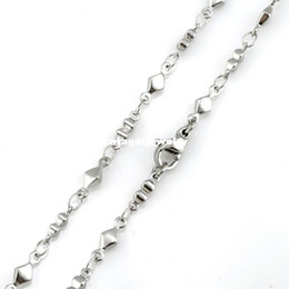 "Wholesale 316l S Steel - 3mm Width 316L Stainless Steel Handmade Men's Women`s Gourd Diamond Shape Bar Linked Chain Necklace (16""-22"" inches)"