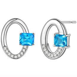 Wholesale Mexico Silver Jewelry - Newest Mexico Female lovely Blue Topaz Crystal Stud Earring 925 silver jewelry Free Shipping E0036