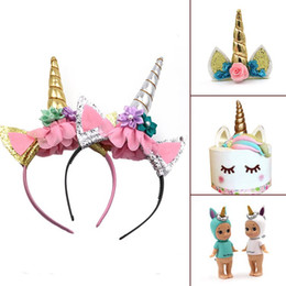 Wholesale Wholesale Horn Jewelry - Fashion Magical Girls Kids Decorative Unicorn Horn Head Fancy Party Hair Headband Fancy Dress Cosplay Costume Jewelry Gift A08