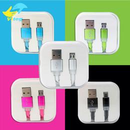 Bonbons plats en Ligne-Couleurs de bonbons Nouilles plates Micro USB Câble de synchronisation de données Câbles de chargement de ligne Chargeur Pour Samsung Galaxy S4 S5 S6 HTC LG Sony