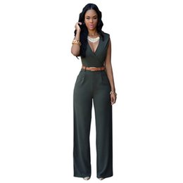 Wholesale Jumpsuit Working - V-neck work wear woman jumpsuit Sexy slim full length female rompers solid Ultra-wide-leg trousers for woman free shipping