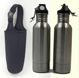 Wholesale Insulated Cup Holders - Bottle Insulator Sleeve Armour Bottle Koozie Holder Bonus Insulated Bag Portable Black Cup Sleeve Cover OOA1873