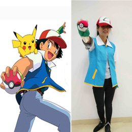 Wholesale Shirts Gloves - Go Pocket Cosplay Monster Ash Ketchum Trainer Costume Shirt Jacket Gloves Hat Ball Japan Anime Halloween Party Wear