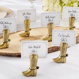 Wholesale Wholesale Wedding Supplies Bulk - Western Country Cowboy Boot Place Card Holders Wedding Decoration Gifts Party Table Supplies Bulk