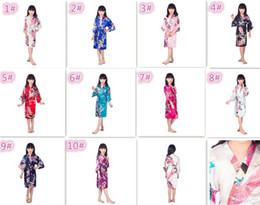 Wholesale silk nightgowns robes - 10pcs 10 colors kids Solid royan silk Robe girl children Satin Pajama Lingerie Sleepwear Kimono Bath Gown pjs Nightgown M024