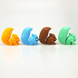 Wholesale Fashion Castings - Silicone Tea Strainer Lovely Squirrel Family Necessity Tea Filtering Tool A Variety Of Colors Creative Fashion Hot Sale 5 5fr J
