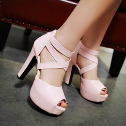 Wholesale Size 32 Sandals - 4 Colors New Chic Women Cross Strappy Platform High Heel Sandals Shoes Extra Plus Size 31 32 33 34 to 40 41 42 43