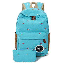 Wholesale Canvas Big Backpack For School - Wholesale- Fresh 2pcs Canvas Women Backpack Big Girl Student Book Bag With Purse Laptop 2pcs Ladies School Bag For Teenager