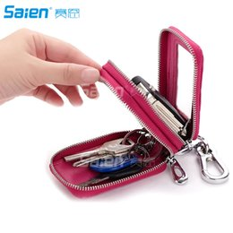 Wholesale Car Key Card Case - Genuine Leather Car key Chain Bag Wallet 2 Zipper Car key Chain Case Holder with Smart KeyChain Coin and Key Ring
