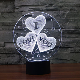 Wholesale I Lamp - 7 Color Change 3D abstract vision amazing optical illusion Three-Heart I LOVE YOU 3D effect touch keys home decoration LED Table Lamp Night