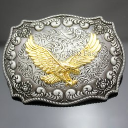 Wholesale Wholesale Men Western Belts - Western Antique Silver Engraved Flower Gold Bird of Prey 3D Eagle Belt Buckle