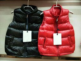 Wholesale Boys Button Vest - M395 kid gillets French Baby Body Warmer anorak gilets boy girl winter vest High Quality Warm Plus Size Down and parka anorak vest