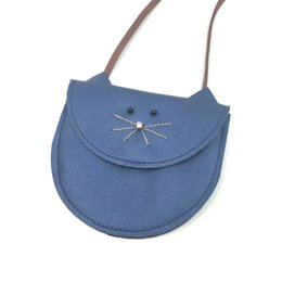 Wholesale Baby Blue Purse - Wholesale-2016 New Kids Bag Purse Wallet Little Cat Cute Messenger Bag Coin Holder Fashion Children Coin Purse Baby Girl Clothes Decoratio
