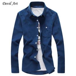Wholesale Corduroy Shirt Dresses - Wholesale- Free Shipping 2017 Mens Dress Shirts Corduroy Casual Slim Fit Brand Long Sleeve Shirts Pure Color Cotton Shirt 16 Color Size:5XL