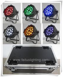Wholesale Rgba Par - 12Xlot flight case zoom led par light 6in1 par 64 stage lighting 18 x 18w rgba w-uv led par