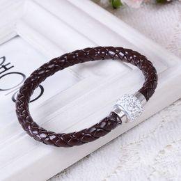 Wholesale Men Slapping Women - hot sale fashion jewelry simple stylish rhinestones crystal diamond woman man braided bangle pu Leather bracelet