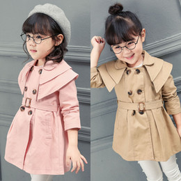 Wholesale Wholesale Girls Trench Coats - Everweekend Baby Girls Ruffles Trench Jackets Outwears Candy Pink Khaki Red Color Autumn Winter Coats Fashion Children Outwears