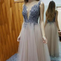 Wholesale Women Dressess - Illusion Evening Dressess Sleeveless Backless Evening Dresses for Women Long Dresses Elegant Beads Appliques Tulle Floor Length Prom Gowns