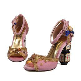 Wholesale Black Velvet Straps Shoes - fashion women wedding shoes pink burgundy black velvet chunky heel crystal formal shoes for evening party prom