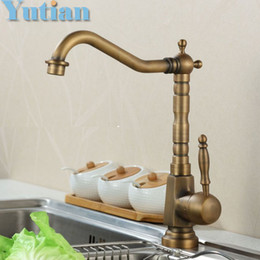 Wholesale Antique Ship Sinks - Wholesale- Free shipping Kitchen Faucet Antique Brass Swivel Bathroom Basin Sink Mixer Tap Crane,torneira YT-6025