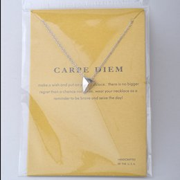 """Wholesale Triangle Shaped Necklace - Dogeared Card Package Reminders Carpe Diem Pyramid Triangle Shaped Carpe Diem Pendant Necklace 18"""" Chain Charms Necklace"""