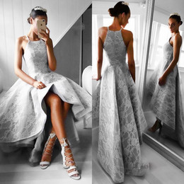 Wholesale Evening Dress Light Grey - Grey Lace High Low Prom Dresses A Line Spaghetti Straps Formal Dresses Evening Wear Zipper Back Fast Delivery Cheap Party Dress Vestidos