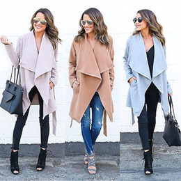Wholesale Open Breast Clothing - Wholesale- women winter coats double-breasted coat Fashion temperament Slim windbreaker jacket lapel belt women's clothes
