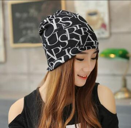 Wholesale Hip Scarf Orange - New arrival 2 Use Cap Knitted Scarf & Winter Hats for Women Letter Beanies Women Hip-hot Skullies girls Gorros women Beanies