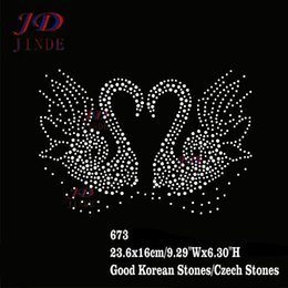 Wholesale Chest Designs T Shirt - 30pcs lot Hotfix Rhinestone Iron On Motif Lovers Swan Design DIY For T-Shirt Chest,Pillowcase,Garment Accessories