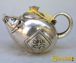 Wholesale Bronze Rat - Antique bronze Qianlong antique brass copper kettle earning large quantities of gold each day rat teapot pot collection