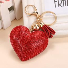 Wholesale Keychain Cool - Love Heart Rhinestone Tassel Keychain Bag Phone Pendant Handbag Key Ring Car Key Chain Leather Charm Pendant Cool Keychain Gift LPQ001232