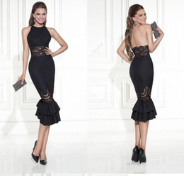 Wholesale Hot Evening Prom Dress - New Design A-line Short Evening Dresses opening Back Black Color Prom Party lace-up dress veatidos de festa Hot sale free shipping