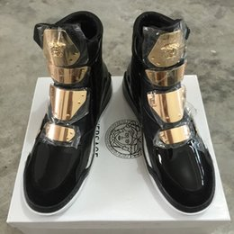 Wholesale Famous Boot Brands - Hot Sales Winter Famous Brand Men Shoes Medusa Black Red High-top Genuine Leather Zipper Men Boots Fashion Luxury Flat Soles Sneakers