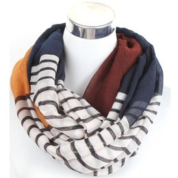 Wholesale Infinity Collar - Wholesale- Free Shipping lady loop scarf colorful striped fine infinity scarf women shawl wrap head scarf female collar scarves beach towel
